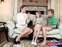 The guy and naughty milf are teaching teen chick how to suck
