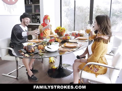 Step brother and sister are enjoying hardcore fuck with mom and dad