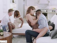 White and black swinger couples are pleasuring hardcore interracial foursome fuck