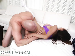 Bald dude makes hot Arab chick Mia Khalifa to deepthroat his big dick and fucks her