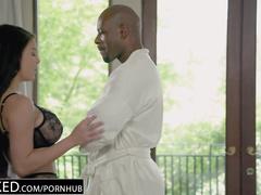 Bouncy boobed brunette Peta Jensen loves rough interracial sex with young fucker