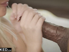 Sweet young blonde chick enjoys interracial rough fuck with black dude