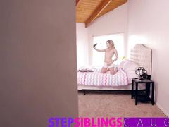 Horny guy spied his stepsister posing in sexy panties in her room