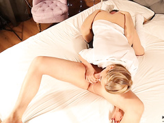 Hot blonde chick with sexy pig tail Kristina Sweet enjoys oral sex in 69 pose